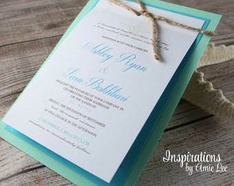 Rustic Beach Wedding Invitations, Beach wedding, Wedding Invitations