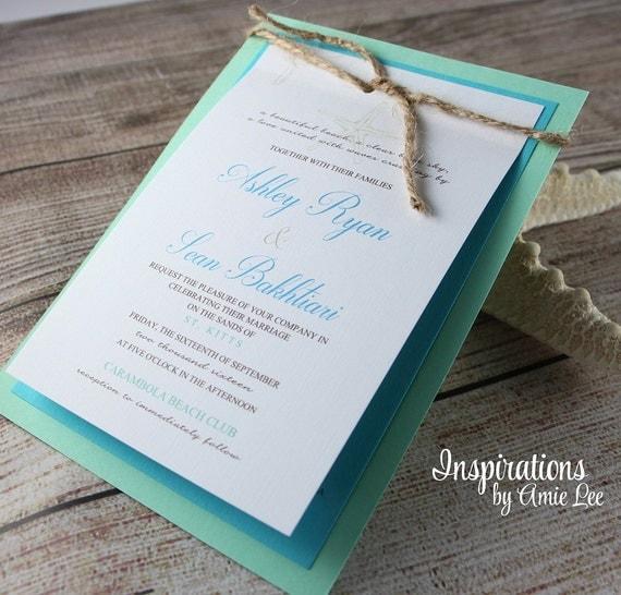 Etsy Beach Wedding Invitations: Rustic Beach Wedding Invitations Beach Wedding Wedding