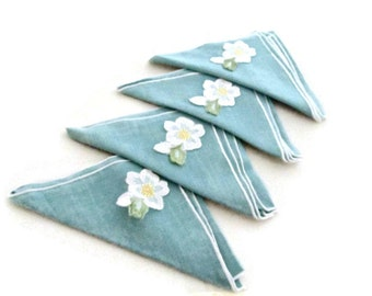 Aqua Linen Napkins Flower Embellished  (4)  Luncheon Table 1950s