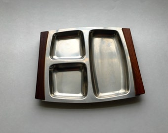 Danish Modern Rosewood tray / Stainless steel vintage comdiment tray