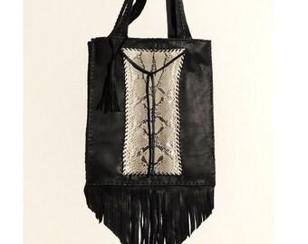 Handmade Hobo Style 100% Genuine Snake Skin Leather Tote Bag / Black Leather Shoulder Bag With Fringes