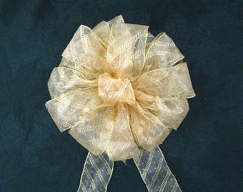 Sheer Gold Bow / Wreath Bow / Yellow Bow / Christmas Bow