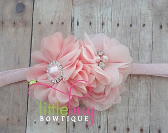 Pink Salmon Coral Valentine Holiday Satin Chiffon Pearl Rhinestone Glitter Headband for Newborns, Toddlers, Girls, Teens