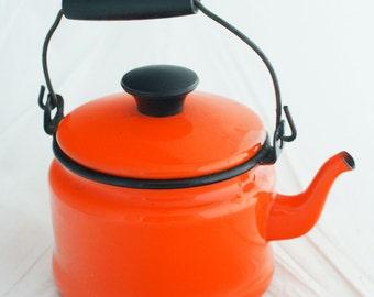Enamel Kettle - Small tabletop orange tea kettle with black wood handle