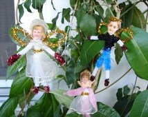 lot of Victorian style Christmas fairies,5 handmade vintage German scraps & pipe-cleaner angels children, Christmas tree decorations