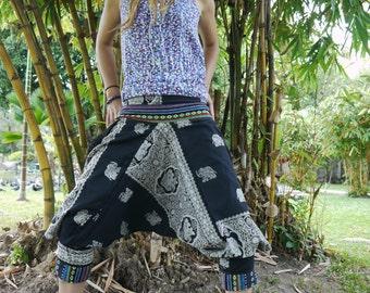 Thai Hill Tribe  / Capri Pants, Batik Cotton, Hmong Hill Tribe Style Harem, Black and White w Elephant Pattern & Colored Belt Details