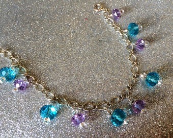 Bracelet Turquoise and Light Purple Glass Crystal approx 7 inches by JulieDeeleyJewellery on Etsy