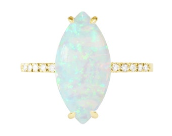 Marquise White Opal Diamond Engagement Ring, 14K Gold Ring, Unique Engagement Ring, Delicate Ring