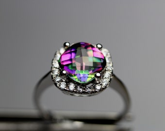 Genuine Mystic Topaz in an Accented Sterling Silver Setting
