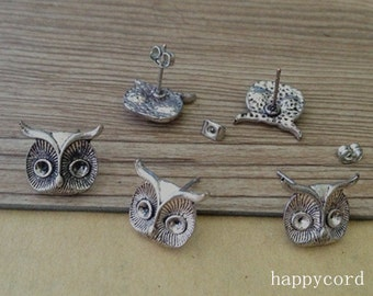 10pcs 12mmx14mm antique Silver owl Ear hammer Base