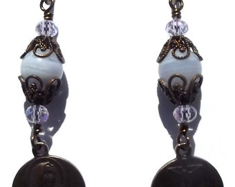 Our Lady of Sorrows Crucifixion Medal Catholic Heirloom Wire Wrapped Earrings Jewelry