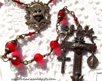 Sacred Heart Yalalag Cross Rosary with Crucifix and Miraculous Medal Catholic Bronze Wire Wrapped Faux Antique Vintage