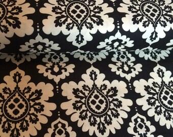 Lost and Found Love Black & Cream Damask fabric