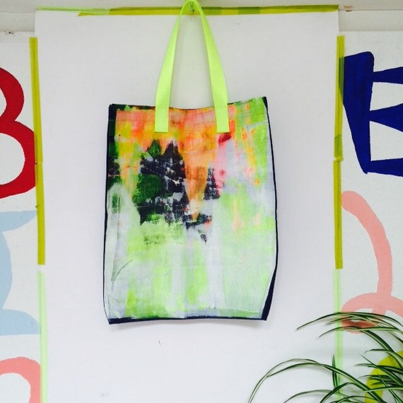 BRUSH Hand Painted Bag Handbag Tote Bag Shopper Shopping Bag