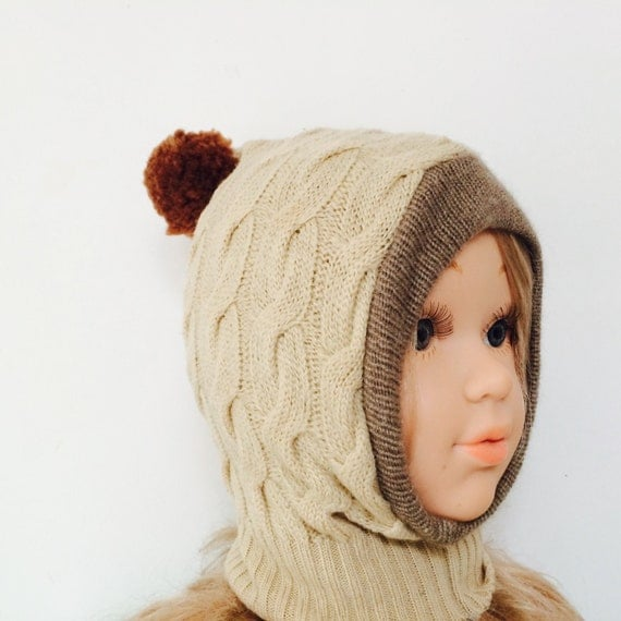 DIZZY 0-3m Wool Toddler Hat Kids Childrens Balaclava Bobble Hat Snood Hoodie Upcycled Wool Pom Pom Unisex