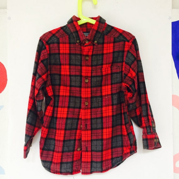 Vintage Plaid Shirt Kids 6-7 Years Cotton Flannel Lumberjack Unisex