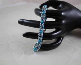 Silver and aqua byzantine bracelet