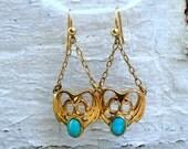 Art Nouveau Vintage 15K Yellow Gold Turquoisel Chandelier Earrings.