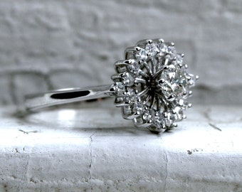 Retro Vintage 18K White Gold Diamond Cluster Engagement Ring - 0.85ct.