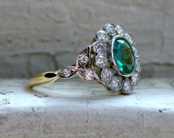 RESERVED - Stunning Vintage 18K Yellow Gold Diamond Halo and Emerald Engagement Ring - 1.80ct.