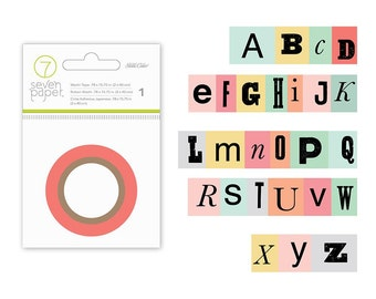 Colorful Multi Font Alphabet Washi Tape, 7/8 In x 10 Yd : Clara by Seven Paper and Studio Calico