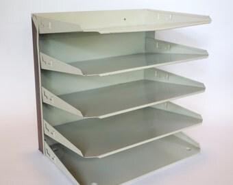 Vintage Metal Paper Organizer, Industrial Stacking Tray, Retro Desk Craft Home Organization