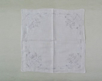 Vintage embroidered hanky, linen handkerchief with embroidered flowers, Madeira style embroidery on light weight linen hanky