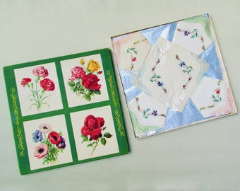 Vintage boxed hanky set, set of 6 hand embroidered handkerchiefs in original gift box, lace trimmed hankies with floral embroidery