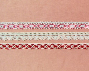 Lot of 3 vintage edge trims, cotton and rayon trims in red, pink, and cream, cottage chic colored lace trim