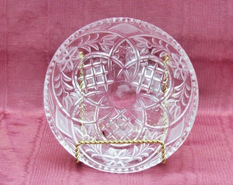 Vintage crystal candy dish, pressed and engraved shallow bowl with floral pattern