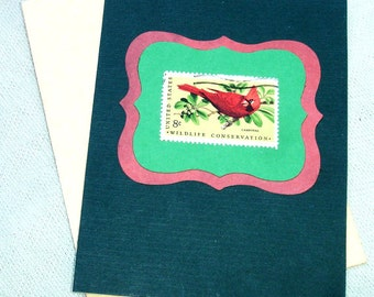 Vintage Postal Stamp with Cardinal Christmas or Yule Handmade Card