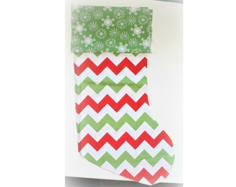 Christmas Stocking - Personalized Stocking - Fully Lined Cotton Stocking - Red/Green and White Chevron