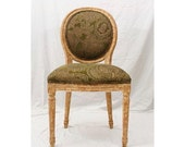 Side Chair Green Upholstery Crackle Paint