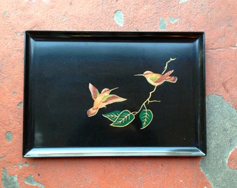 Couroc Hummingbird Tray Large Rectangular Black Phenolic Resin