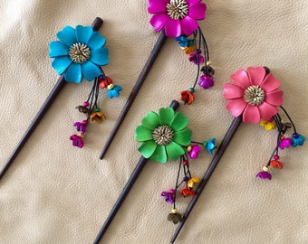 Linda's leather flower hair stick