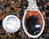 Orange & Black Agate Wire Wrapped Pendant