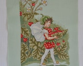 Finished / Completed Cross Stitch - DMC Flower Fairies Strawberry Fairy crossstitch counted cross stitch