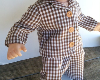 "American Girl 15 ""Bitty Twins Doll Clothing - Brown Cotton Gingham Pajamas PJ's Boy or Girl"