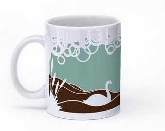 Swan Mug - Swan Coffee Mug - Swan Lover - Swan Gift - Turquoise Mug - For Her - Green Mug - Blue Mug 11oz