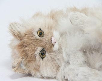Vintage Cat Figurine, Rabbit Fur Cat Figure, Cute Kitten