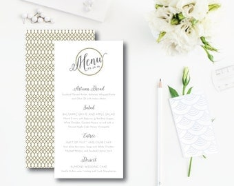 Williamsburg Times Printed Menu Cards | Double Sided Menu or Itinerary Card | Printed or Printable by Darby Cards