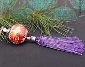 Moroccan Style Beaded Tassel Ornament - Bronzed Pink Red Purple Tassel Decoration - Bohemian Decor - Handmade Polymer Bead
