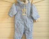 Baby Snowsuit, Vintage Snowsuit, Blue And White Quilted Snowsuit, Blue Check Winter Bodysuit, Toddler Snowsuit, Boy Winter Coat, Winter Wear