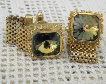 Watermelon Rivoli 14mm Rinestone Goldtone Nugget & Mesh Wrap Cufflinks by Dante