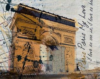 Paris, Paris, Paris, large canvas print, fine art print, cityscape painting, modern art print wall decor by Irena Orlov