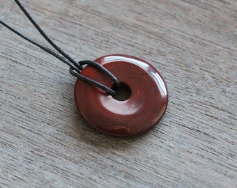 30 mm Red Jasper Pi Stone Donut V11