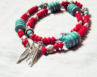 Boho Jewelry Necklace, Bohemian Necklace, Feather Necklace, Statement Bead Necklace, Red and Turquoise Necklace, Boho Chic, Gift under 20,
