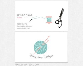 knitting business cards - thick - glossy or matte - color both sides - FREE UPS ground