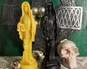 Santa Muerte Lady Death Grim Reaper (Set of 2) Black Beeswax Candle