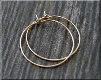 """14k Gold Filled Hoop Earrings, 1"""" Gold Hoop Earrings, Simple Earrings, Minimalist Jewelry, Boho Chic Earrings, Delicate Hoop Earrings"""
